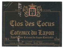 ETIQUETTE CLOS DES COCUS COTEAUX DU LAYON - Sin Clasificación
