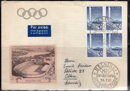SUOMI FINLAND FINLANDIA 1952 OLYMPIC GAMES HELSINKI GIOCHI OLIMPICI SURTAX TO FINANCE THE GAMES STADIUM  20m + 3m FDC - FDC
