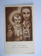 Image Pieuse Santini Devotieprentje Marie Maria Onze Lieve Vrouw Van Het H. Scapulier Vereerd Kapel Rosier 24 Antwerpen - Devotion Images