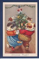 CPA Kennedy Chat Cat  Position Humaine Noël Chien Dog écrite - Katten
