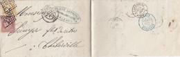 LETTRE. 15 SEPT 74. 25c. N° 58 + 59. MICHOT LEPRINCE POUR THIBERVILLE. PAR PARIS ETRANGER. PARIS A CHEROURG A - 1849-1876: Klassik