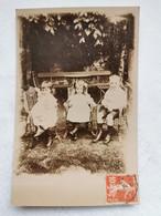 CARTE PHOTO Portrait D'ENFANTS 3 Enfant Jardin Carte Postale Ancienne CPA Postcard Animee - Photos