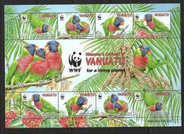 VANUATU 2011 PERROQUETS-WWF FEUILLET  YVERT N°1388/91 NEUF MNH** - Vanuatu (1980-...)