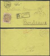 Brazil 1902 Registered Cover From Salvador Bahia To Bordeaux France Stamp RHM-133 Cruzeiro Do Sul Crux Overprint 700 Réi - Cartas