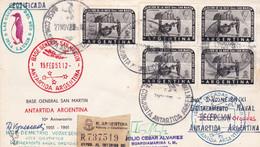ANTARCTIQUE ENVELOPPE. CIRCULEE BASE SAN MARTIN A ÎLES ORCADES DU SUD, ARGENTINE. ANNEE 1963 -LILHU - Ohne Zuordnung