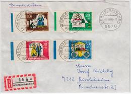 Berlin - Wohlfahrt 1966, Satz/Seitenrand M. Farbstreifen, Einschreiben - Cartas