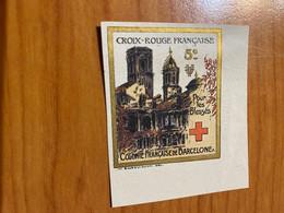 Vignette - Colonie Française De Barcelone -croix Rouge / Militaire - Croix Rouge