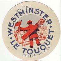 HS 365 - Etiquette D'Hotel Westminster, Le Touquet, Avec Golfeur. - Deportes