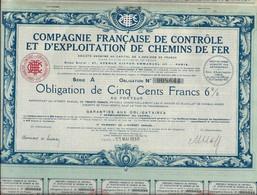 COMPAGNIE FRANCAISE DE CONTROLE ET D' EXPLOITATION DE CHEMINS DE FER  - ANNEE 1930 - Ferrocarril & Tranvías