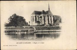 CPA Le Lion D'Angers Maine Et Loire, L'Eglise Et Le Quai - Altri Comuni