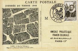 1946 -  JOURNEE DU TIMBRE - PARIS  - Tp FOUQUET DE LA VARANE  N° 754   (léger Pli à Gauche) - ....-1949