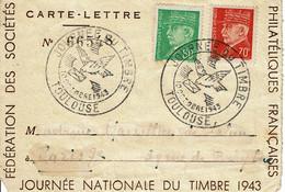 1943 - Carte Lettre - JOURNEE NATIONALE DU TIMBRE - Oblitération TOULOUSE - Tp N° 511 Et 513 - ....-1949