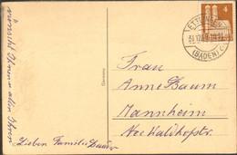 Bizone 4 Pfg.Bauten Auf Drucksache V.1949, Aus Ettlingen,Alt-Einkreisstegstempel Neujahrskarte M.Sektflasche - American/British Zone