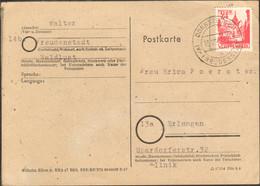 Frz.Zone Württ. 24 Pfg.Persönlichk.u.Ansichten Auf Postkarte V.1947 Aus Dornstetten - Zona Francesa