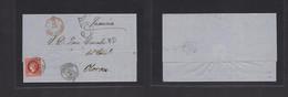 E-PROVINCIAS. 1861 (13 Nov) 53º Zaragoza, Calatayud - Francia, Oloron Via Jaca. Sobre Completo Con Franqueo 12c Carmin M - Unclassified