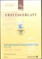 BRD FDC Ersttagsblatt 1998 Sehenswürdigkeiten Expo 2000 - FDC: Feuilles