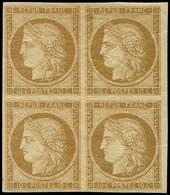 * EMISSION DE 1849 - 1    10c. Bistre-jaune, BLOC De 4, Ch. Très Légère, Superbe - 1849-1850 Cérès