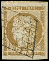 EMISSION DE 1849 - 1    10c. Bistre-jaune, 2 Voisins, Obl. GRILLE, Superbe - 1849-1850 Cérès