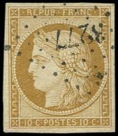 EMISSION DE 1849 - 1    10c. Bistre-jaune, Obl. PC 3277, TTB - 1849-1850 Cérès