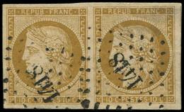 EMISSION DE 1849 - 1    10c. Bistre-jaune, Nuance Foncée, PAIRE Obl. PC 1418, TTB - 1849-1850 Cérès