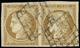 EMISSION DE 1849 - 1    10c. Bistre-jaune, PAIRE Obl. GRILLE, TB - 1849-1850 Cérès
