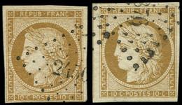 EMISSION DE 1849 - 1    10c. Bistre-jaune, 2 Nuances Obl. PC, TB - 1849-1850 Cérès