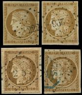 EMISSION DE 1849 - 1    10c. Bistre-jaune, 4 Ex. Obl. PC, Dont Nuances, TB/TTB - 1849-1850 Cérès