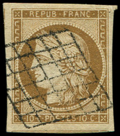EMISSION DE 1849 - 1a   10c. Bistre-brun, Filet De Voisin En Bas, Obl. GRILLE, TTB. C - 1849-1850 Cérès