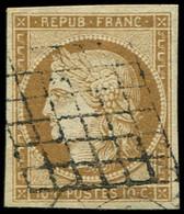 EMISSION DE 1849 - 1a   10c. Bistre-brun, Oblitéré GRILLE, TB. C - 1849-1850 Cérès