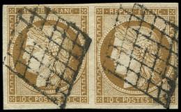EMISSION DE 1849 - 1a   10c. Bistre-brun, PAIRE Oblitérée GRILLE, TB - 1849-1850 Cérès
