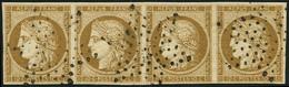 EMISSION DE 1849 - 1a   10c. Bistre-brun, BANDE De 4 Obl. ETOILE, RR Ainsi, TTB - 1849-1850 Cérès
