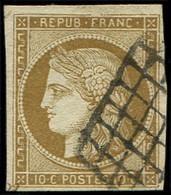 EMISSION DE 1849 - 1b   10c. Bistre-VERDATRE, Obl. GRILLE, Effigie Dégagée, TB, Nuance Certifiée Calves - 1849-1850 Cérès