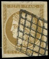 EMISSION DE 1849 - 1b   10c. Bistre-VERDATRE, Obl. GRILLE, Très Belles Marges, TB - 1849-1850 Cérès
