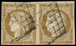 EMISSION DE 1849 - 1b   10c. Bistre-VERDATRE, PAIRE Obl. GRILLE, TB - 1849-1850 Cérès