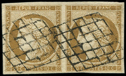 EMISSION DE 1849 - 1b   10c. Bistre-VERDATRE, PAIRE Obl. GRILLE, TTB - 1849-1850 Cérès
