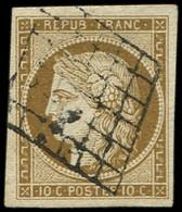 EMISSION DE 1849 - 1c   10c. Bistre-VERDATRE FONCE, Obl. GRILLE, Grandes Marges, Superbe. J - 1849-1850 Cérès