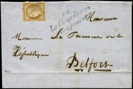Let EMISSION DE 1849 - 1    10c. Bistre-jaune, Obl. PC 741 S. LSC, Cursive 66/LA CHAPELLE-SOUS/ROUGEMONT, TTB - 1849-1876: Klassieke Periode
