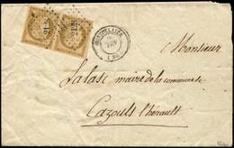 Let EMISSION DE 1849 - 1    10c. Bistre-jaune, PAIRE Obl. PC 2128 S. LSC, Càd T15 MONTPELLIER 6/52, TTB. C - 1849-1876: Klassieke Periode