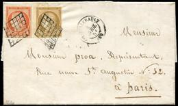 Let EMISSION DE 1849 - 1 Et 5, 10c. Bistre Bdf Et 40c. Orange, Obl. GRILLE S. LAC, Càd T15 CHATELLERAULT 4/4/51, TTB - 1849-1876: Klassieke Periode