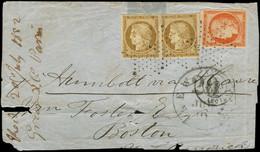 Let EMISSION DE 1849 - 1 Et 5, 10c. PAIRE (1 Ex. Déf.) Et 40c. TB Obl. ETOILE S. LSC Partielle Pour BOSTON Via NY 7/52,  - 1849-1876: Klassieke Periode