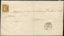 Let EMISSION DE 1849 - 1a   10c. Bistre-brun, Nuance Foncée, Obl. PC 1896 S. Faire-part, Càd MARSEILLE 14/1/53 Pour SIST - 1849-1876: Klassieke Periode