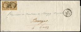 Let EMISSION DE 1849 - 1a   10c. Bistre-brun, PAIRE Effl. En Haut à G., Obl. GRILLE S. LSC, Càd T15 BLOIS 31/10/51, TB.  - 1849-1876: Klassieke Periode