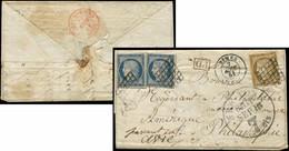 Let EMISSION DE 1849 - 1a Et 4, 10c. Bistre-brun Et 25c. Bleu (2 Dont 1 Lég. Touché), Obl. GRILLE S. LAC, Càd T15 NIMES  - 1849-1876: Klassieke Periode