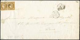 Let EMISSION DE 1849 - 1b   10c. Bistre-VERDATRE, PAIRE Très Bien Margée, Intacte En Bas à Droite, Obl. PC 2691 S. LSC U - 1849-1876: Klassieke Periode