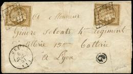 Let EMISSION DE 1849 - 1b   10c. Bistre-VERDATRE (2), Jolie Nuance, Obl. GRILLE S. LSC, Càd T15 GEX 6/7/51 Et Boite G, T - 1849-1876: Klassieke Periode