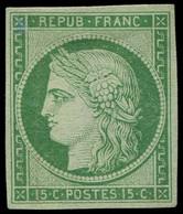 (*) EMISSION DE 1849 - 2    15c. Vert, Frais Et TB, Certif. Calves - 1849-1850 Cérès