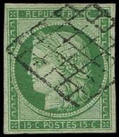 EMISSION DE 1849 - 2    15c. Vert, Oblitéré GRILLE, TB/TTB - 1849-1850 Cérès
