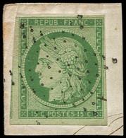 EMISSION DE 1849 - 2a   15c. Vert Clair, Amorce De Voisin, Obl. ETOILE S. Fragt, TTB. C - 1849-1850 Cérès