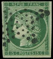 EMISSION DE 1849 - 2c   15c. Vert TRES FONCE (vert Bouteille), Obl. ETOILE, Marge Fine En Haut, Très Belle Nuance, TB. C - 1849-1850 Cérès