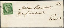 Let EMISSION DE 1849 - 2a   15c. Vert Clair, Obl. ETOILE S. LAC De Paris Pour Paris, TTB. C - 1849-1876: Klassieke Periode